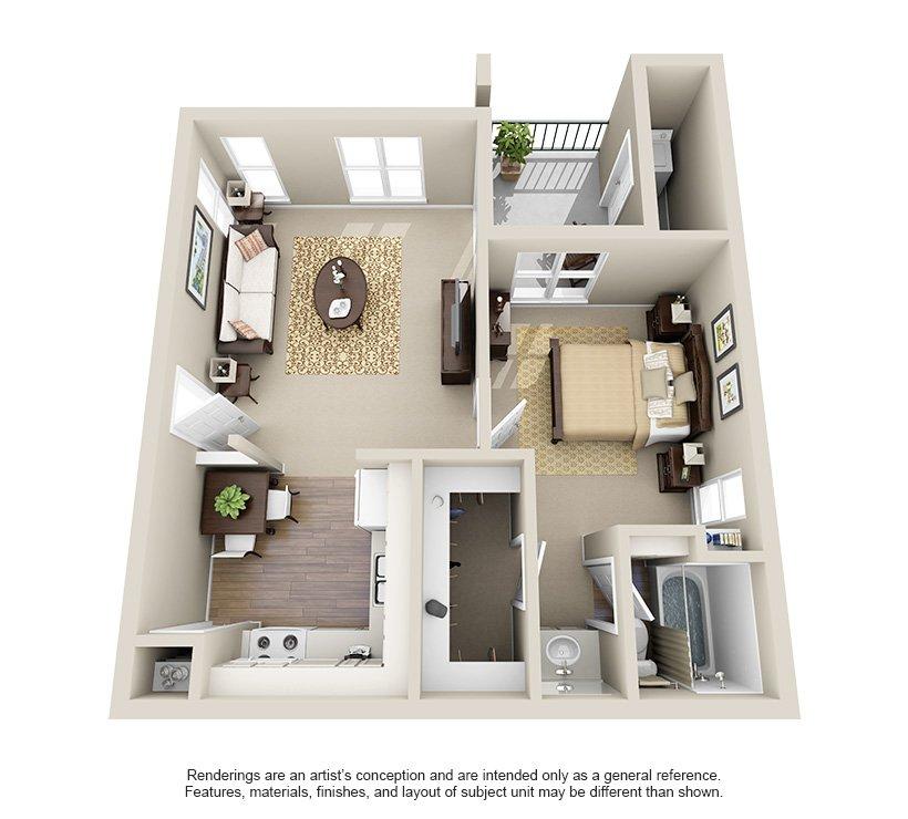 1 Bedroom 1 Bathroom Apartment for rent at Ashley Oaks in San Antonio, TX