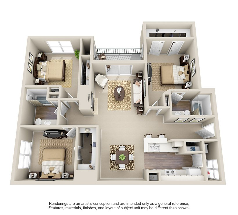 3 Bedrooms 2 Bathrooms Apartment for rent at Ashley Oaks in San Antonio, TX