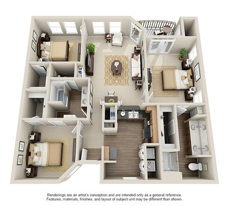 3 Bedrooms 2 Bathrooms Apartment for rent at Rosemont At Olmos Park in San Antonio, TX