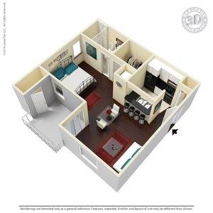 1 Bedroom 1 Bathroom Apartment for rent at Verandahs At Cliffside in Arlington, TX