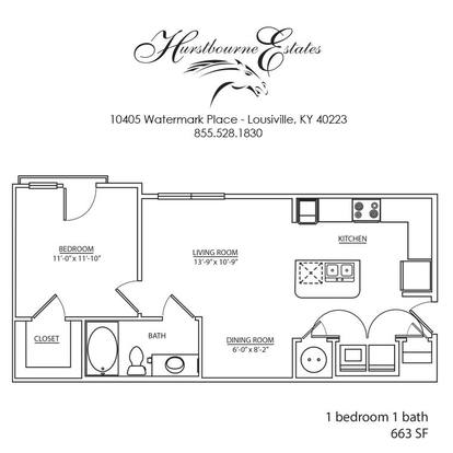 1 Bedroom 1 Bathroom Apartment for rent at Hurstbourne Estates in Louisville, KY