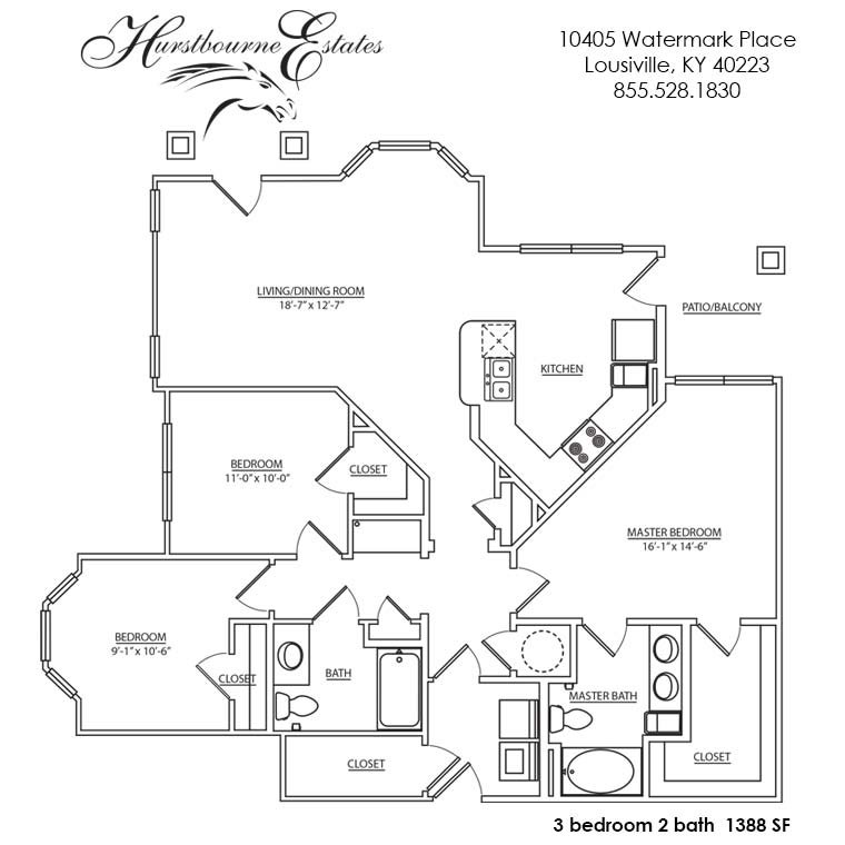 3 Bedrooms 2 Bathrooms Apartment for rent at Hurstbourne Estates in Louisville, KY