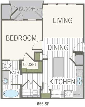 1 Bedroom 1 Bathroom Apartment for rent at Belleza At Cresta Bella in San Antonio, TX