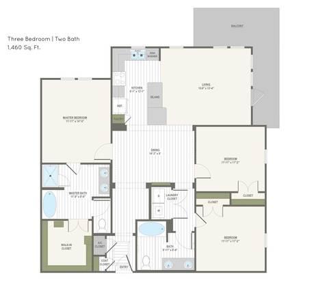 3 Bedrooms 2 Bathrooms Apartment for rent at Belleza At Cresta Bella in San Antonio, TX