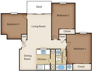 3 Bedrooms 1 Bathroom Apartment for rent at Timber Ridge Apartments in Riverside, OH