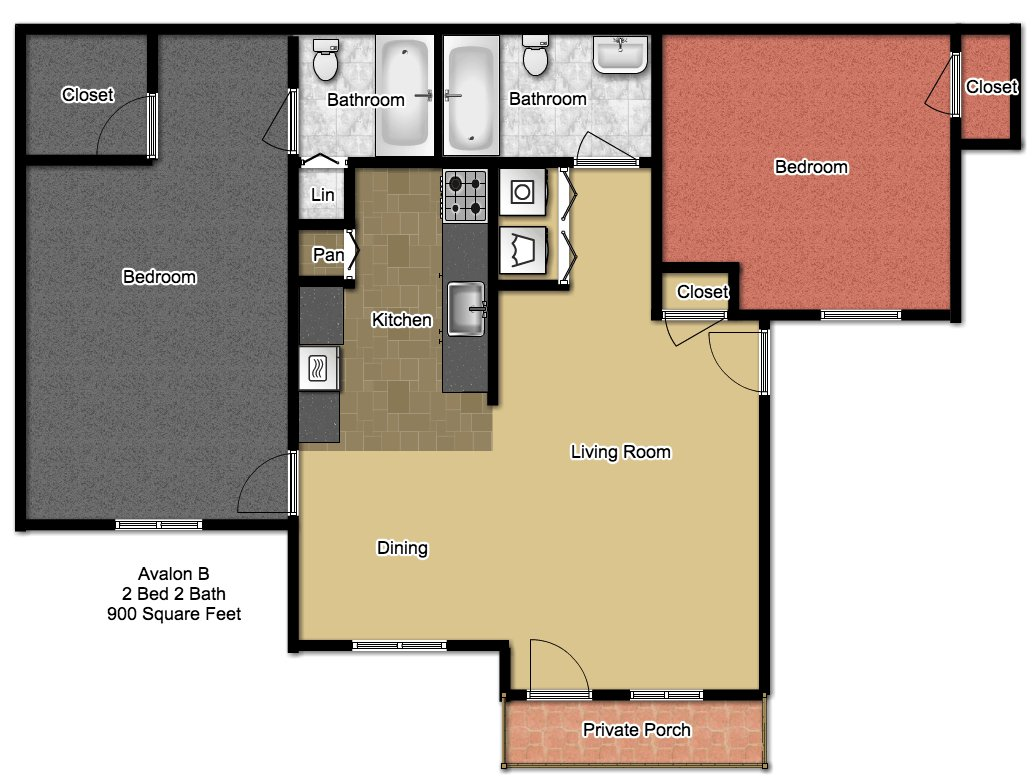 2 Bedrooms 2 Bathrooms Apartment for rent at Avalon in Norman, OK