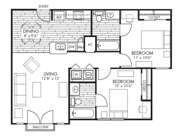 2 Bedrooms 2 Bathrooms Apartment for rent at Midtown in Arlington, TX