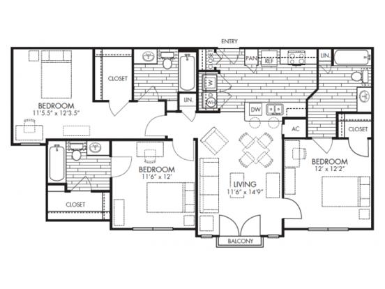 3 Bedrooms 3 Bathrooms Apartment for rent at Midtown in Arlington, TX