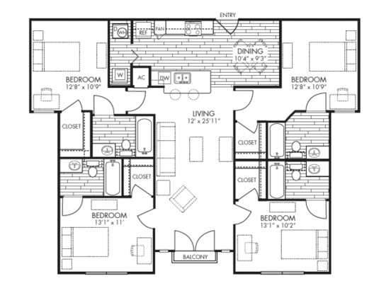 4 Bedrooms 3 Bathrooms Apartment for rent at Midtown in Arlington, TX