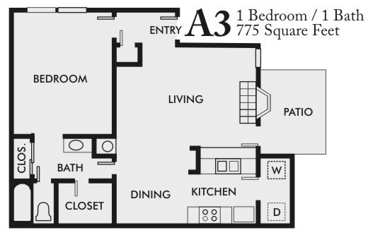 1 Bedroom 1 Bathroom Apartment for rent at Arlington Oaks in Arlington, TX
