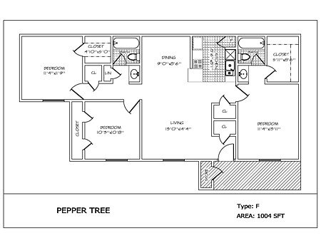 3 Bedrooms 2 Bathrooms Apartment for rent at Pepper Tree in College Station, TX