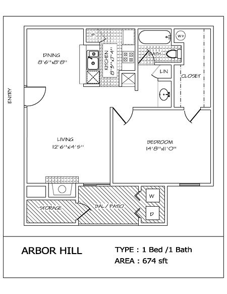1 Bedroom 1 Bathroom Apartment for rent at Arbor Hill in San Antonio, TX