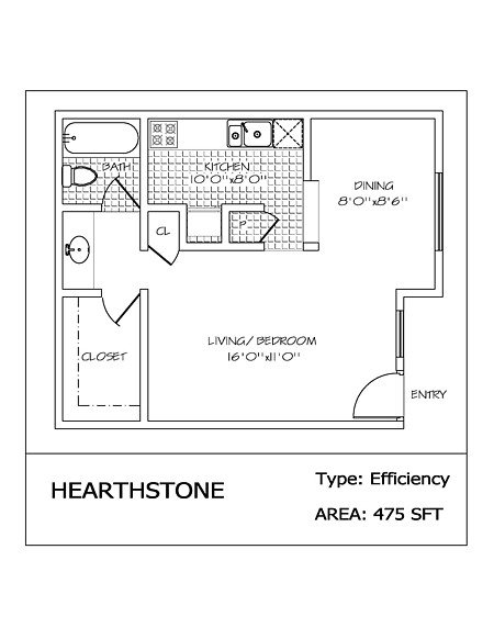 Studio 1 Bathroom Apartment for rent at Hearthstone in San Antonio, TX