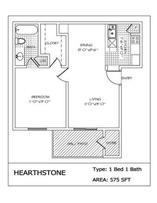 1 Bedroom 1 Bathroom Apartment for rent at Hearthstone in San Antonio, TX