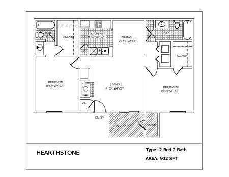 2 Bedrooms 2 Bathrooms Apartment for rent at Hearthstone in San Antonio, TX