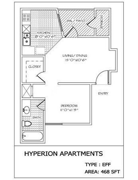 Studio 1 Bathroom Apartment for rent at Hyperion in San Antonio, TX