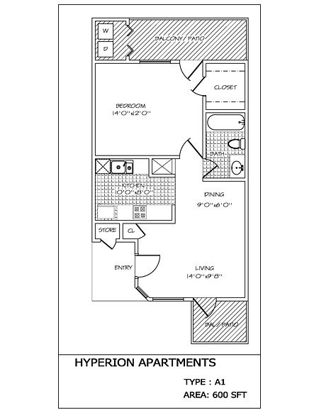 1 Bedroom 1 Bathroom Apartment for rent at Hyperion in San Antonio, TX