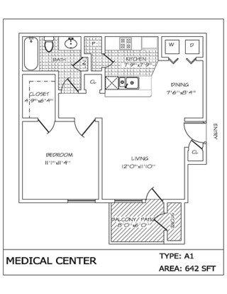 1 Bedroom 1 Bathroom Apartment for rent at Medical Center in San Antonio, TX