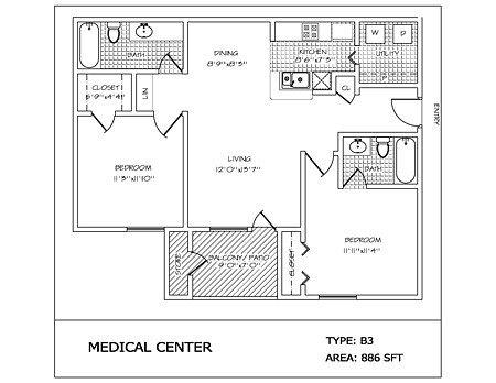 2 Bedrooms 2 Bathrooms Apartment for rent at Medical Center in San Antonio, TX