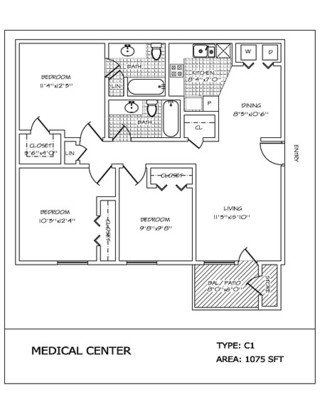 3 Bedrooms 2 Bathrooms Apartment for rent at Medical Center in San Antonio, TX