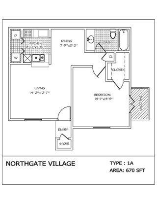 1 Bedroom 1 Bathroom Apartment for rent at Northgate Village in San Antonio, TX