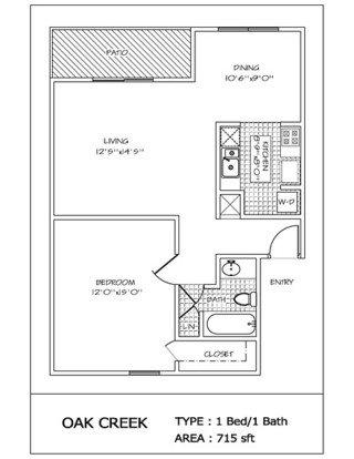 1 Bedroom 1 Bathroom Apartment for rent at Oak Creek in San Antonio, TX