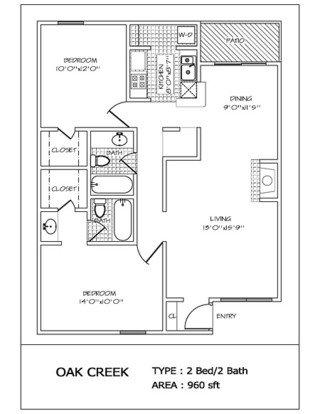 2 Bedrooms 2 Bathrooms Apartment for rent at Oak Creek in San Antonio, TX