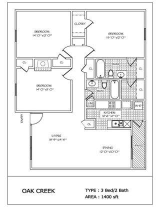3 Bedrooms 2 Bathrooms Apartment for rent at Oak Creek in San Antonio, TX