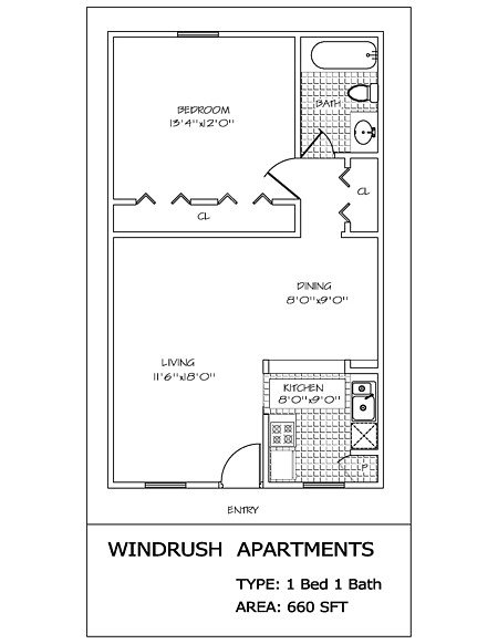 1 Bedroom 1 Bathroom Apartment for rent at Windrush in San Antonio, TX
