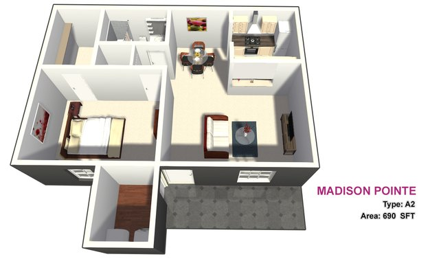 1 Bedroom 1 Bathroom Apartment for rent at Madison Pointe in College Station, TX