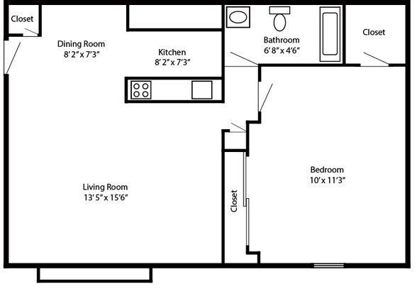 1 Bedroom 1 Bathroom Apartment for rent at Falcon Ridge in Dayton, OH
