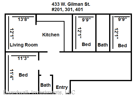 3 Bedrooms 2 Bathrooms Apartment for rent at 433 W. Gilman St. in Madison, WI