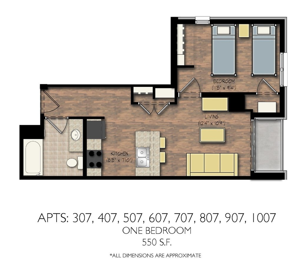 1 Bedroom 1 Bathroom Apartment for rent at City View in Madison, WI