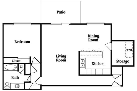 1 Bedroom 1 Bathroom Apartment for rent at Rollingwood in Vestavia Hills, AL