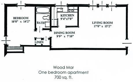 1 Bedroom 1 Bathroom Apartment for rent at Woodmar in Lansing, MI