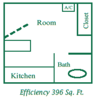 Studio 1 Bathroom Apartment for rent at Parkside Apartments in San Antonio, TX