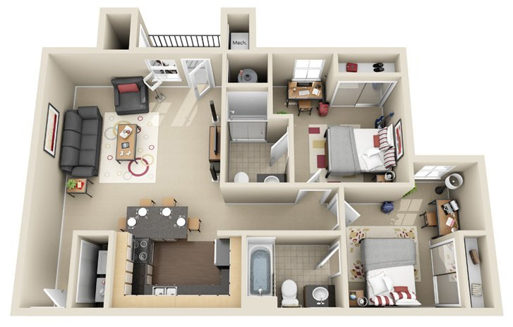 2 Bedrooms 2 Bathrooms Apartment for rent at The Village At Chandler Crossings in East Lansing, MI