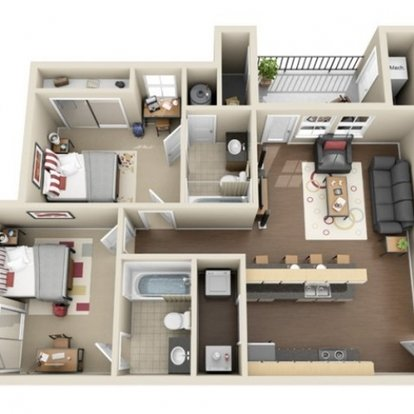 2 Bedrooms 2 Bathrooms Apartment for rent at The Club At Chandler Crossings in East Lansing, MI