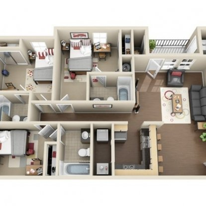 3 Bedrooms 3 Bathrooms Apartment for rent at The Club At Chandler Crossings in East Lansing, MI
