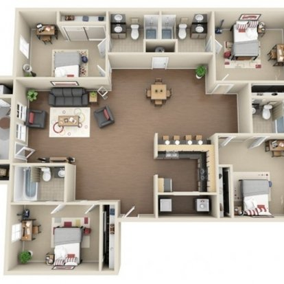 4 Bedrooms 3 Bathrooms Apartment for rent at The Club At Chandler Crossings in East Lansing, MI
