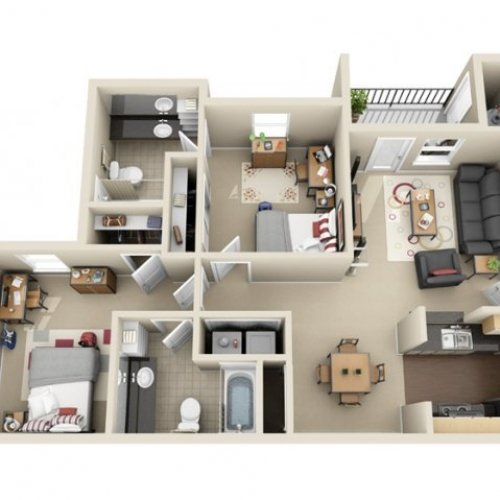 2 Bedrooms 2 Bathrooms Apartment for rent at The Landings At Chandler Crossing in East Lansing, MI