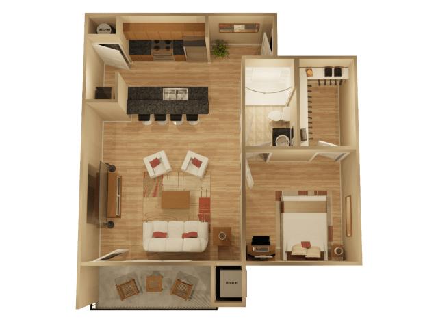 1 Bedroom 1 Bathroom Apartment for rent at The Rocks At Chandler Crossings in East Lansing, MI