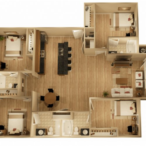 4 Bedrooms 3 Bathrooms Apartment for rent at The Rocks At Chandler Crossings in East Lansing, MI