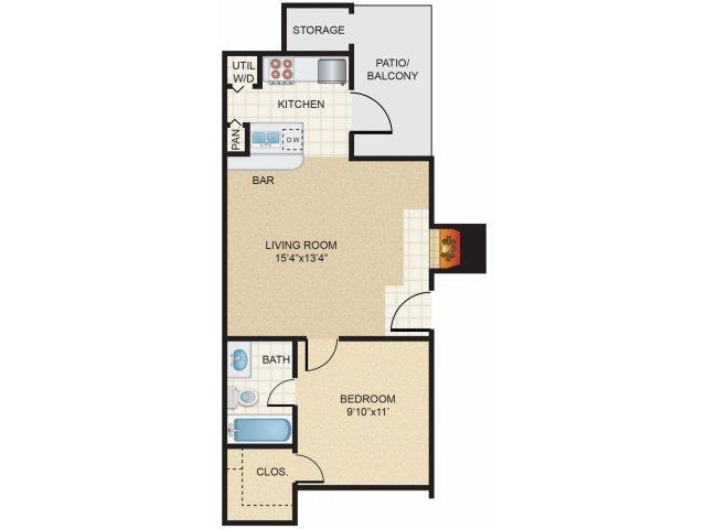 1 Bedroom 1 Bathroom Apartment for rent at Huntington Meadows in Arlington, TX
