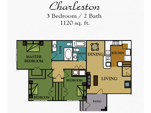 3 Bedrooms 2 Bathrooms Apartment for rent at Rush Creek in Arlington, TX