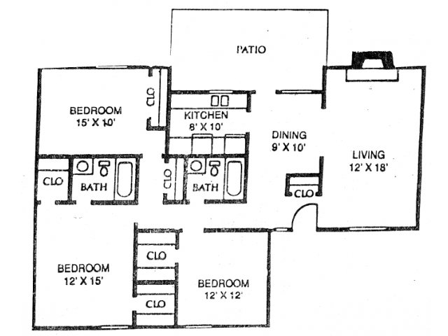3 Bedrooms 2 Bathrooms Apartment for rent at Stone Ridge in Arlington, TX