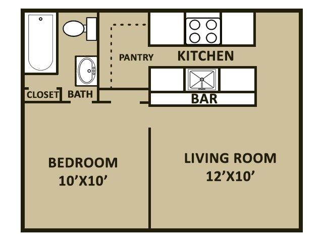 1 Bedroom 1 Bathroom Apartment for rent at Covina Plaza Apartments in San Antonio, TX