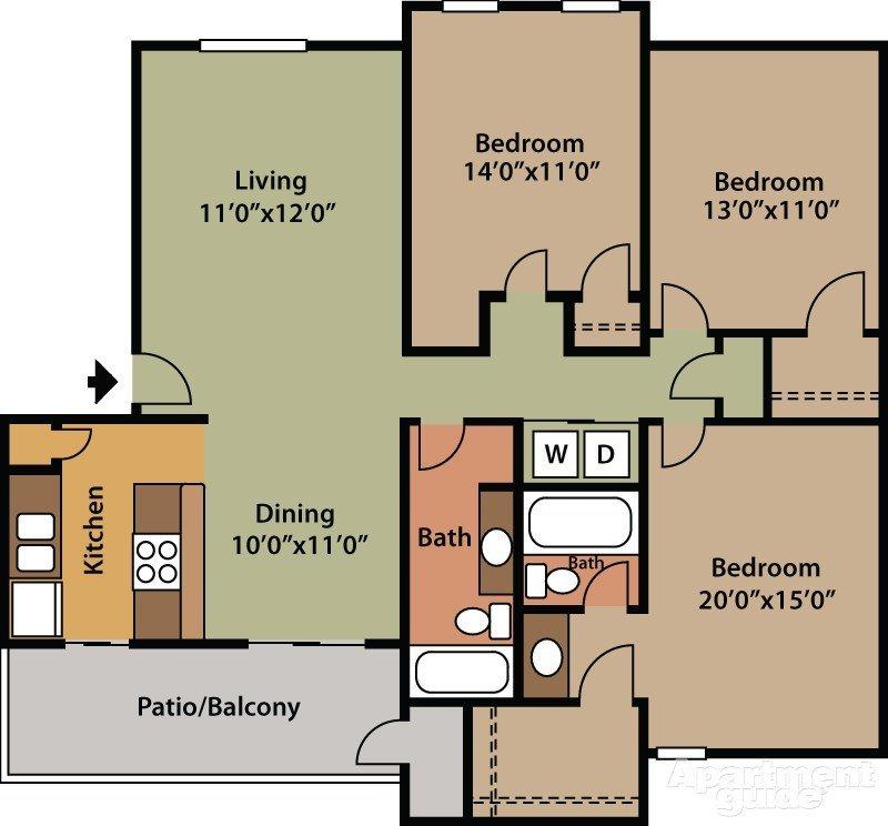 3 Bedrooms 1 Bathroom Apartment for rent at Saddlewood in San Antonio, TX