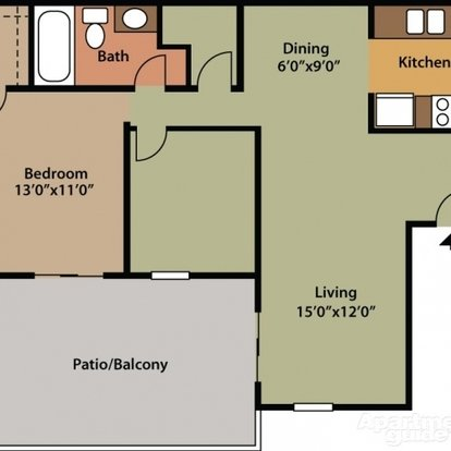 1 Bedroom 1 Bathroom Apartment for rent at Saddlewood in San Antonio, TX