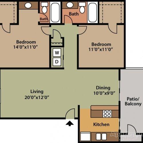 2 Bedrooms 2 Bathrooms Apartment for rent at Saddlewood in San Antonio, TX
